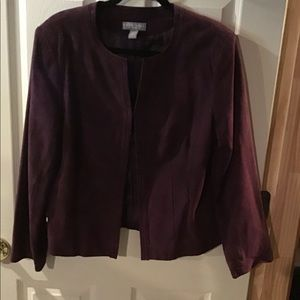 KATE HILL PLUM LEATHER JACKET 12P GUC